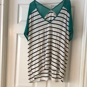 Umgee black and white striped shirt XL